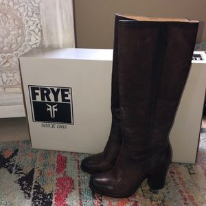 Frye tall block heeled boot size 8